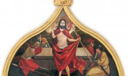 Feltámadt Krisztus – oromzatkép 16. század első negyede,  Kozmási plébániatemplom, Gyulafehérvári Főegyházmegye